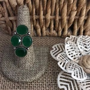 Green Onyx 4 stone statement Ring